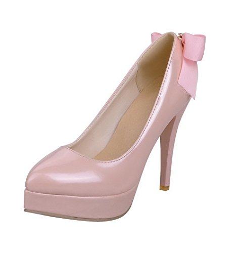 AgooLar Femme Mosaïque Pu Cuir à Talon Haut Pointu Tire Chaussures Légeres Rose