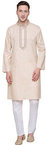 Baumwolle Bestickt Herren Kurta Pyjama Indien Kleidung (Beige, XL) -