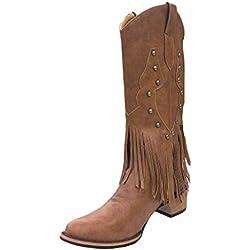 Botas Botas Invierno Mujer, Botas Plano Zapatos De Flecos Borla Señora Calzado De con Flecos Cuero Cortas De Moda Botas De Cuero De Mujeres Zapatos De Invierno Otoño (EU:40, Marrón)
