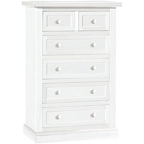 Cómoda de 7 cajones, estilo clasico, en madera maciza y mdf con acabado blanco mate - Medidas 63 x 37 x