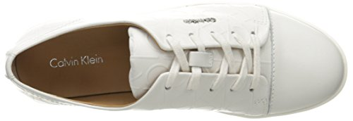 Calvin Klein Imilia Nappa Leather, Baskets Basses Femme Blanc (White)