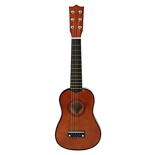 NUYI Anfänger Uke Hawaiian Kinder Mini Gitarre 21 Zoll 12 Saiten 6 Metallsaiten Holz Kinder Studenten Und Anfänger (Schwarz),Braun