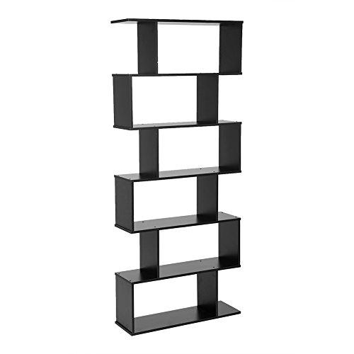 GOTOTOP 6Etagen S Form Bücherregal Holz Bücherregal, 190cm Höhe, freistehend Regal DVD CD Rack Stauraum Raumteiler für Home Office Schwarz (Stauraum Für Cds)