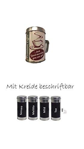 Kaffeepaddose 18 Pads - Neu beschriftbar mit Kreide 4er Set + Osteraktion mit Metallschokostreuer
