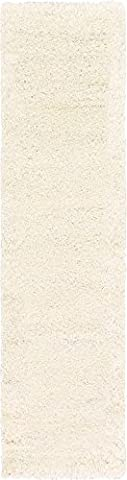 Modern Solid Plush 2-Feet by 10-Feet (2' x 10') Runner Solid Shag Snow White Contemporary Area Rug