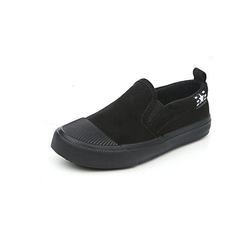 Unisex Kinder Sneakers Slip On Gummi Zehen Schnürer Flache Frühling Espadrilles Schwarz