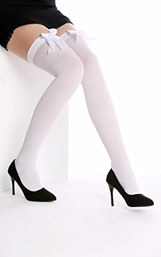 DRESS ME UP - WZ-001WP Strümpfe Damenstrümpfe Overknees Stockings Karneval weiß weiße (Maid French Halloween)