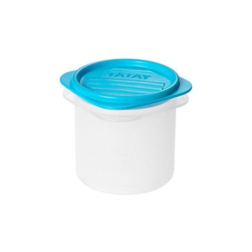 Tatay Contenedor de alimentos cuadrado con tapa flexible, tapa azul, libre de BpA, capacidad 0.3 L