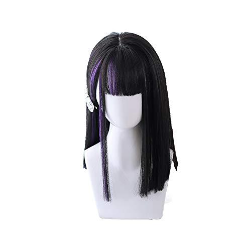 Süßes Mädchen Harajuku Lolita Perücke - Lila Rand schwarze mittlere Perücke - Größe: 38-40cm , - kann getrimmt werdenSoft MUTSALAK