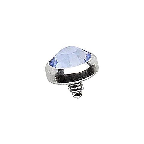 Light Blue 4mm Crystal Flat Implant Grade Surgical Steel Dermal Top 1.6mm Epaisseur