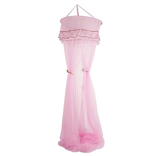 MagiDeal Dome Spitze Prinzessin Moskitonetz Fliegen Insektenschutz Bett Überdachung Vorhang - Rosa (Prinzessin Himmelbett)