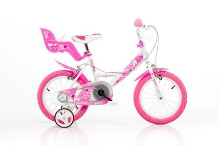 DINO CITY 164RN 16 pouce KIDSBIKE fille vélo, bicyclette, enfant-velo, bécane, vélocipède, rouler en vélo, faire du vélo..blanc-pink..stabilisateurs.. pannier-avant..porte-poupee..gardeboue 16pouce 4-7 ans 105-135cm