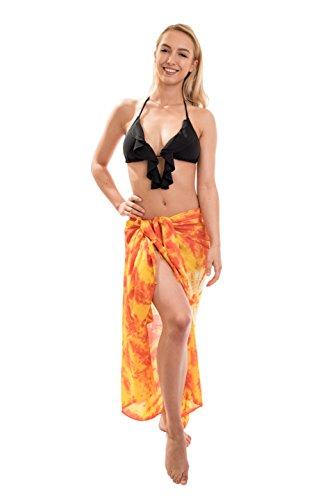 Sarong Pareo Wickelrock Strandtuch Tuch Schal Hüftrock Brustkleid Orange Batik Muster -