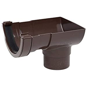 POLYPIPE RR106 BROWN Stop End Outlet for 112mm half round guttering system