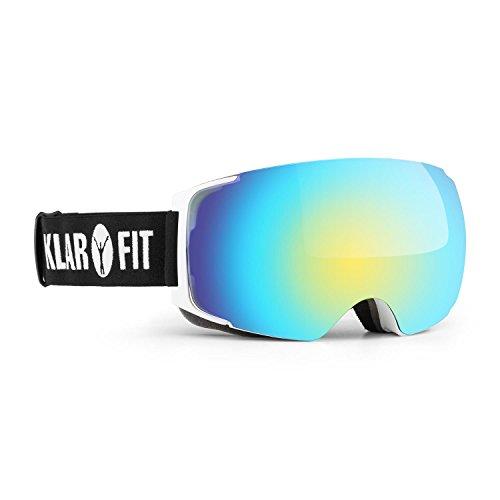 Klarfit Snow View 2 Skibrille Snowboardbrille Snowboard Brille (Verspiegeltes REVO-Coating, Kratz- und bruchfestes Kunstoffglas, direkt belüfteter Rahmen) weiß (Damen Electric Snowboard Brille)