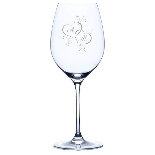 Personello® Rotweinglas mit Gravur (Motiv 2 Herzen), Weinglas mit Initialen graviert (personalisiert), Hochzeitsgeschenk, Geschenk für Verliebte, Paare, zum Valentinstag, Jahrestag oder Hochzeit