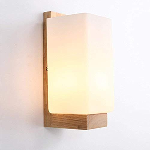 Moderne hölzerne Wandleuchten, die Weinlese-Wandlampe mit Glasschirm für Schlafzimmer-Wohnzimmer am Bett beleuchten -