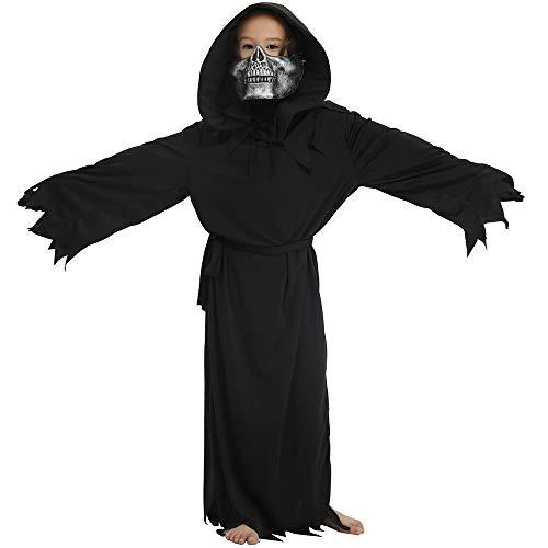Minizone Kinder Halloween Kostüm 5er Pack, Umhang + Hut + Bund + Maske + Handschuhe Party Cosplay Kleidung, M (Für Halloween-kostüme 5k)