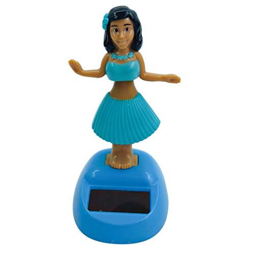 F Fityle Solar Powered Dancing Hula Girl Swinging Bobble Regalo de Juguete Decoración de Coche Novedad Bobble Regalo Juguetes para Niños Azul Oscuro