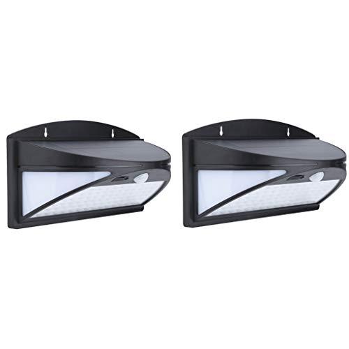 arleuchten Außen 100 LED Solarlampe mit Bewegungsmelder Solar Wandleuchte Solarlicht Wasserdichte Solar Beleuchtung Kabelloses Sicherheitslicht für Gärten Hof Park (Schwarz) ()