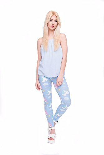 Kukubird Verschiedene Einhorn Flamingo Emoji Patterns Frauen Gym Fitness Leggings Running Yoga Pilates Skinny Hosen Strumpfhosen Größe 8 bis 12 Stretchable 1Pink And Blue Unicorn