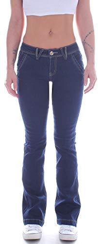 Damen Bootcut Jeans, Schlaghose in Blau, Hüftjeans Low Rise XS 34 S 36 M 38 L 40 XL 42 größe size gr Schlagjeans Bootcutjeans stretchjeans weites ausgestelltes Bein Marlene Flared tiefsitzende Stretch Low Stretch Bootcut Jeans