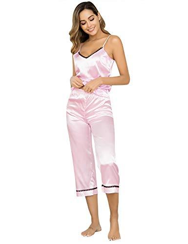 Aibrou Damen Satin Schlafanzüge Kurz Pyjama Set mit Tasche, Träger Oberteil und 3/4 Hose Rosa Rot S Rosa Pyjama Set