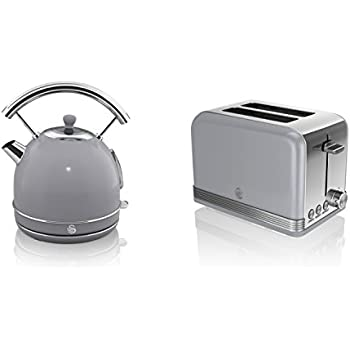NEW Swan Kitchen Appliance Retro Set -GREY 1.7 Litre Dome