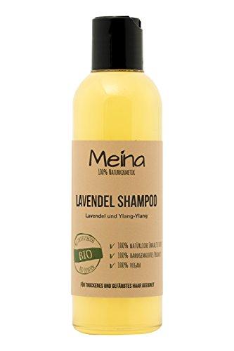 Meina – Shampoo – mit Lavendel und Ylang-Ylang (1 x 220 ml) vegan Bio Lavendelshampoo mit Bio Mandelöl und Bio Kokosöl, ohne Silikone, Sulfate und Parabene, für Männer und Frauen – Naturkosmetik