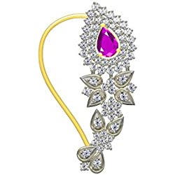 Twisha Fashion Jewellery Gold Plated American Diamond Gorjeous Nose Pin Ring For Womens And Girls