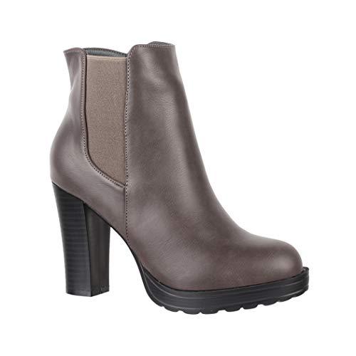 Elara Ankle Boots | Trendige Damen Stiefeletten | Blockabsatz Plateau | Chunkyrayan BK3237 Grey-39