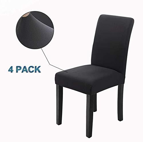 Veakii r coprisedie con schienale 4 pezzi, coprisedia per sala da pranzo mobili da cerimonia nuziale moderni, hotel, ristorante décor( nero)