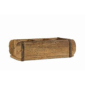 BigDean Alte Ziegelform 30x14x9 cm – Dreikammer – Vintage Holzkiste mit Metallbeschlägen – Echte, benutzte Form aus…