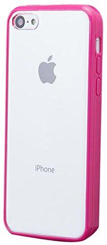 iCues Apple iPhone 5C |  TPU Bumper mit Klare Rückseite Case Hellblau | [Display Schutzfolie Inklusive] Transparent Klarsichthülle Durchsichtig Klare Klarsicht Silikon Gel Schutzhülle Hülle Cover Schu Pink