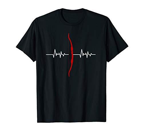 Heartbeat Herzschlag Langbogen Bogenschießen Tshirt