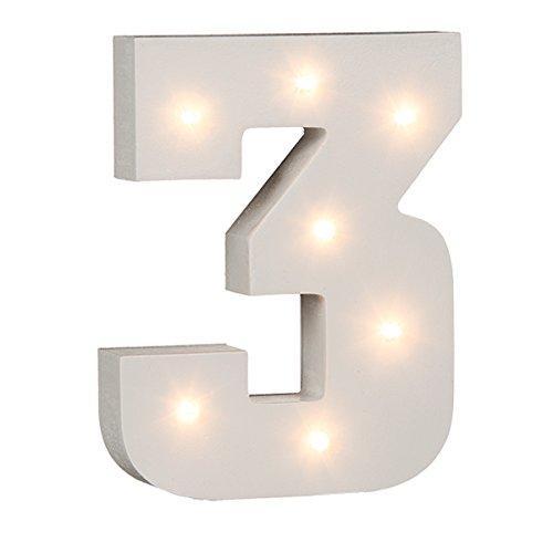 Beleuchtete Zahlen (0 - 9) mit LED-Birnchen, weiß, ca. 16 cm Höhe (3)