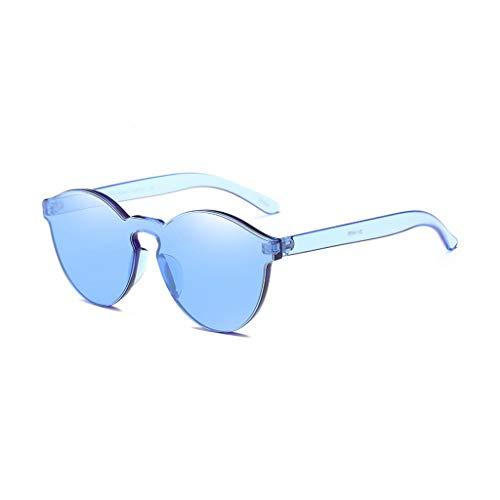 Tyoby Mode Sonnenbrille Integrierte Katzenauge UV-Bonbonfarbene Brille, verschiedene Farben/Verpackungsdesign(Blau)