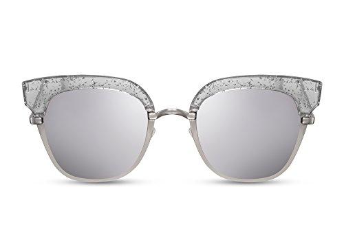 Cheapass Sonnenbrille Cat-Eye Rund-e Gläser Verspiegelt Silber Metall-Rahmen Damen Frauen