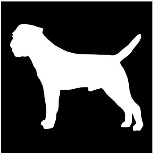 DDLLAN Auto Aufkleber Border Terrier Hund Vinyl Aufkleber Reflektierende Auto Aufkleber Auto Styling Stoßstange Dekoration 15 * 12 cm 2 Stück -