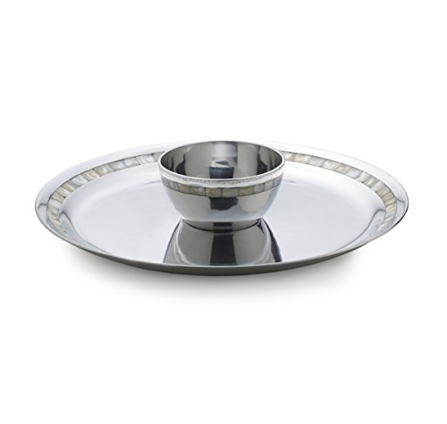 Mikasa Pearl Island Aluminum Chip-and-Dip with Mother of Pearl Accents Mikasa-dip-set