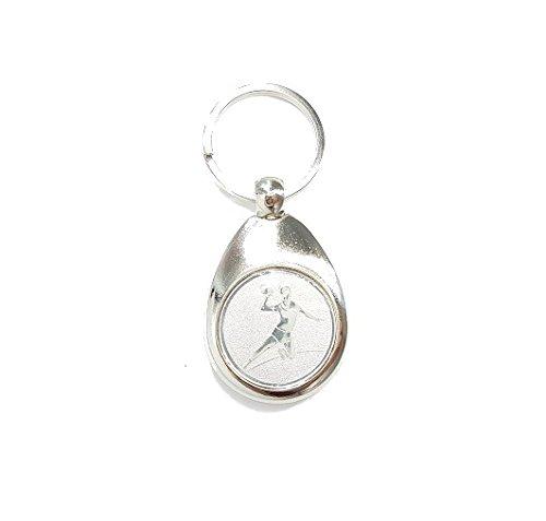 Preisvergleich Produktbild Handballer Motiv Schlüsselanhänger mit Einkaufswagenchip Handball elegant silber glänzend Chip