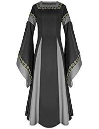 lancoszp Vestido Largo de Noche de Estilo Victoriano Gotico Medieval Renacentista con Manga de Llamarada Rojo