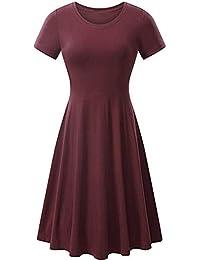 5e5b22a0095 Goosun Damen Kurzarm A-Linie Knielang Strandkleid Mit Reißverschluss Casual  Solide Longshirt Lose Tunika Kurzarm T-Shirt Sommer Mini Kleid…