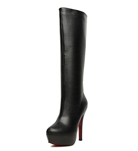 JSHOE Botas De Mujer Zapatos De Moda - Tacón De Aguja - Sexy - Suave Tacón De Aguja,Black-PU-39EU
