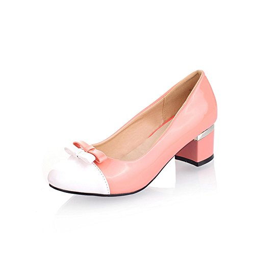 Cuckoo 5cm Chunky Mid Pump Heel Shoes Rose