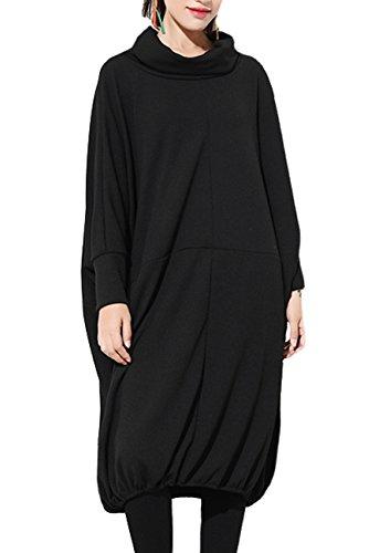 ELLAZHU Women Casual Long Sleeve Turtleneck Baggy Long Sweatshirt GY1096 Black
