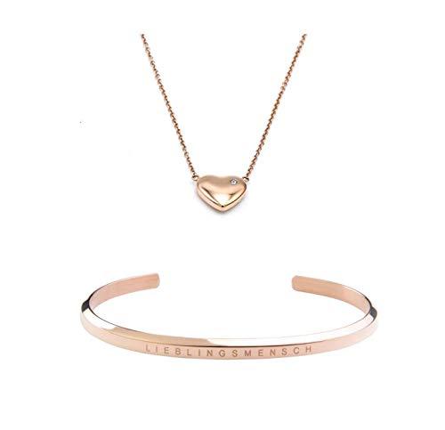 Schmuck Set Damen Rosegold I Herz Kette Armband mit Gravur LIEBLINGSMENSCH Geschenk für Frauen