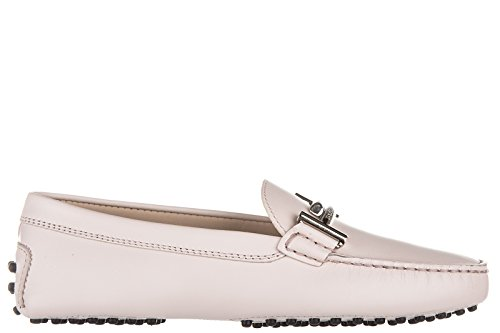 tods-womens-leather-loafers-moccasins-maxi-doppia-t-pink-uk-size-6-xxw00g0q490br0m400