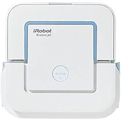 iRobot Braava Jet 240 Robot fregasuelos, con 3 Modos de Limpieza y pulverizador de Agua a presión, óptimo cocinas y baños, con paños Desechables incluidos, 33 W, Blanco