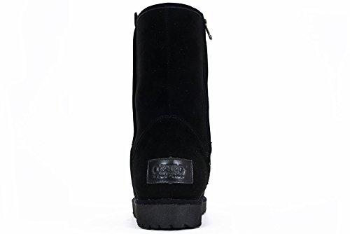 OZZEG Portefeulilles en cuir pour chaussures à talons bas neige bottes cuir en peau de mouton laine Noir